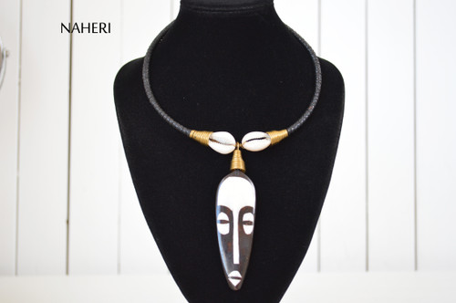 African mask pendant necklace cowrie jewelry naheri