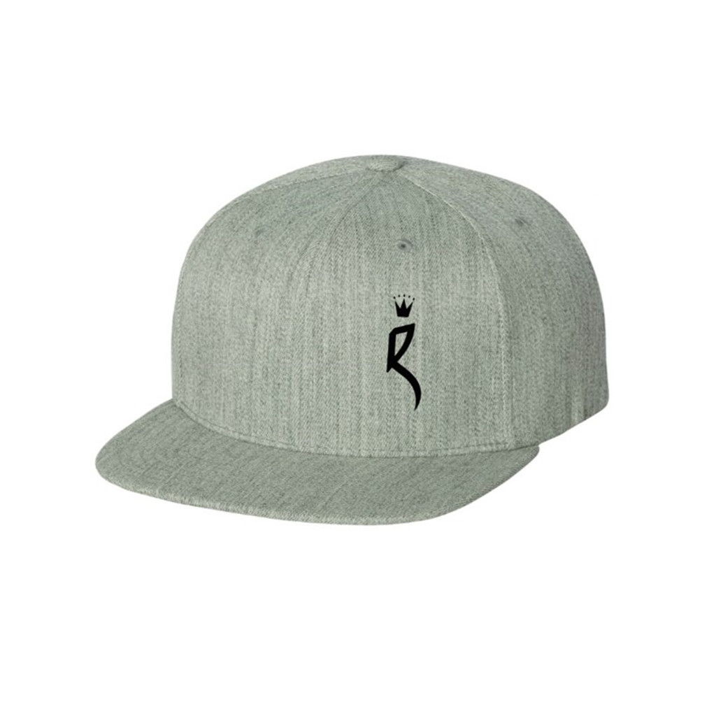 """ROULEUR BREWING """"R"""" WITH FIVE-POINTED CROWN – SNAPBACK HAT – GREY WITH BLACK"""