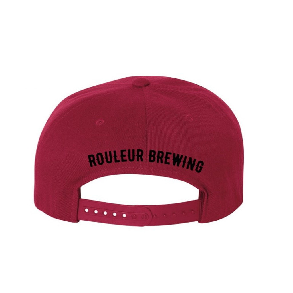 "ROULEUR BREWING ""R"" WITH FIVE-POINTED CROWN – SNAPBACK HAT – RED WITH BLACK"