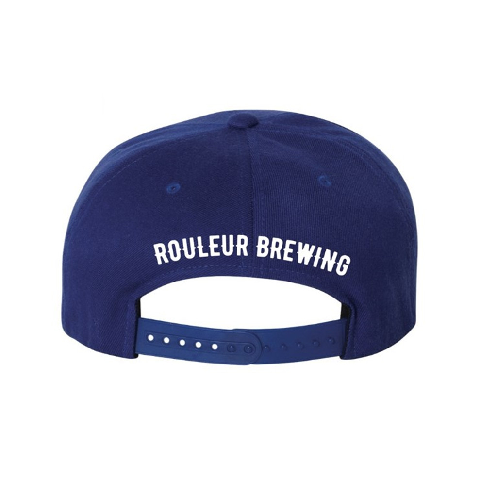 "ROULEUR BREWING ""R"" WITH FIVE-POINTED CROWN – SNAPBACK HAT – BLUE WITH WHITE"