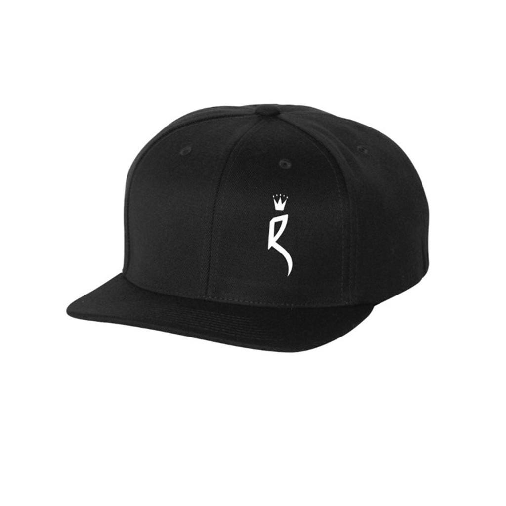 """ROULEUR BREWING """"R"""" WITH FIVE-POINTED CROWN – SNAPBACK HAT – BLACK WITH WHITE"""