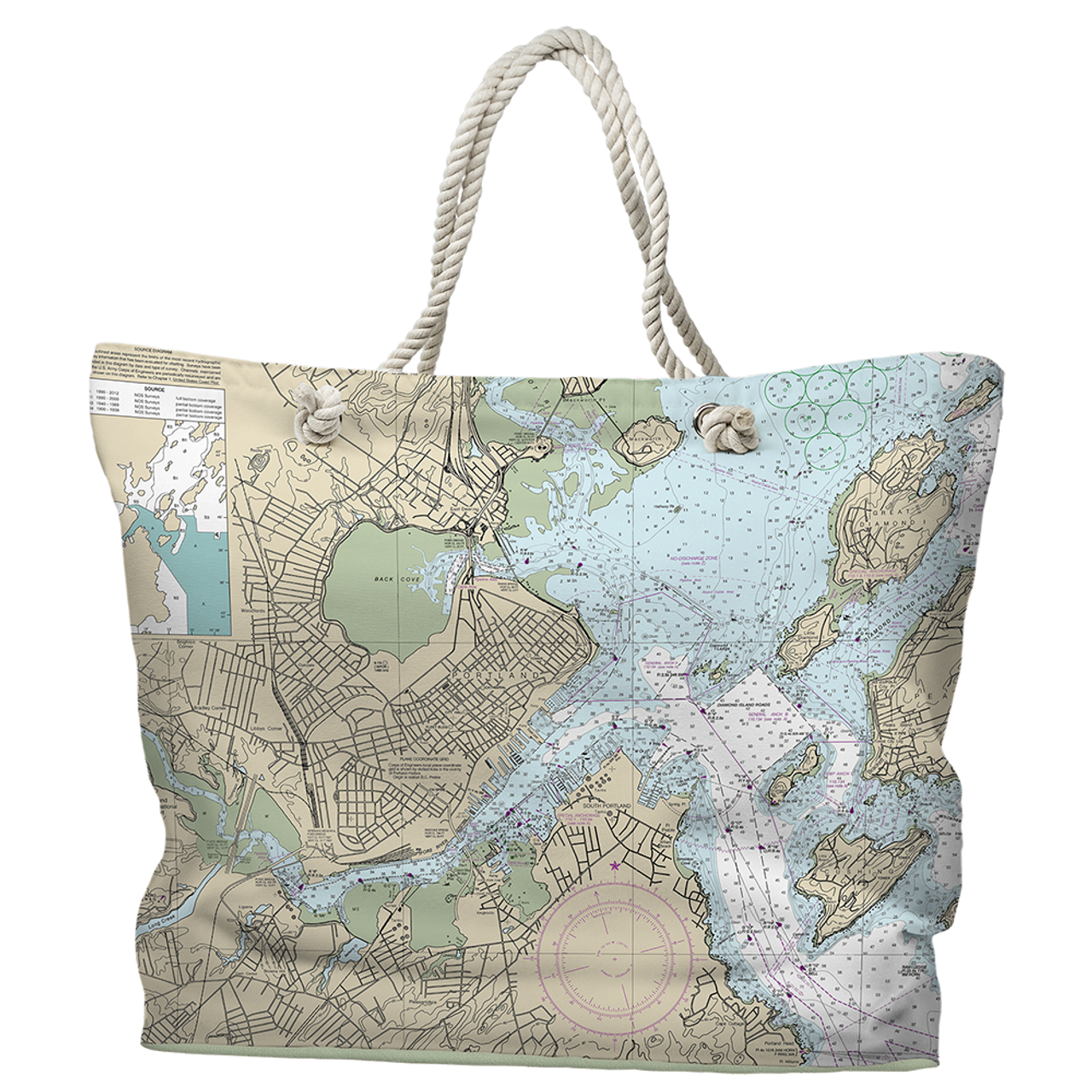 f54b0fdaa6365c SKU: NCT1001; Availability: Made to Order: Ships in 7-10 Days; Shipping:  Free Shipping. Nautical Chart Tote Bag ...