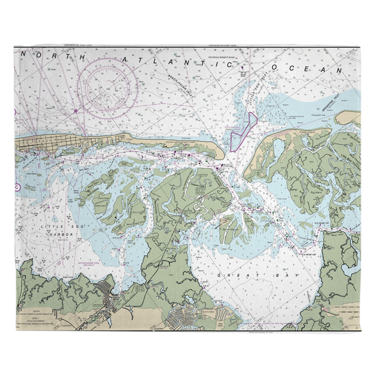 Nautical Chart Fleece Throw Blanket, States from N to W