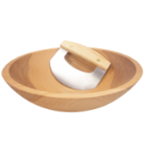 Wood Chopping Bowls & Mezzaluna