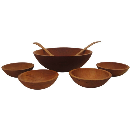 Wooden Salad Bowl Sets, Solid Cherry