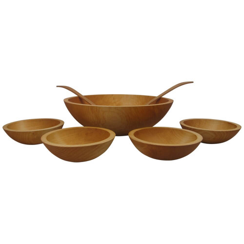 Solid Sugar Maple Wooden Salad Bowl Set