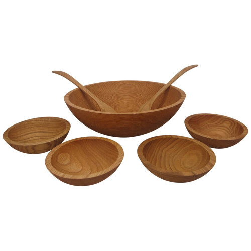 "Solid Red Oak 15"" Salad Bowl with 7"" Serving Bowls"