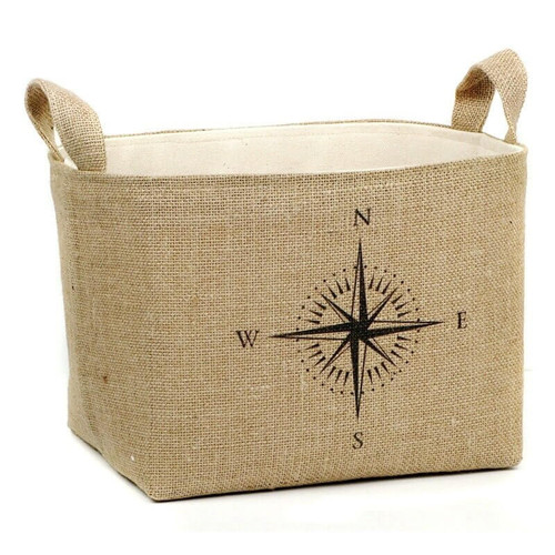 Natural Burlap Storage Bin with Cream Colored Lining