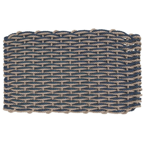 Lobster Rope Doormat, Navy Blue & Warm Sand