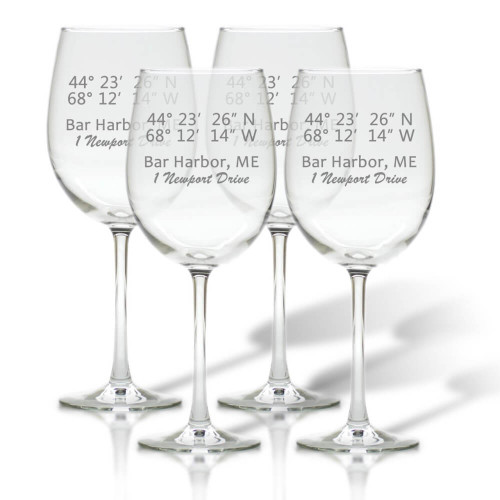 Longitude Latitude Coordinates Wine Glasses Set of 4