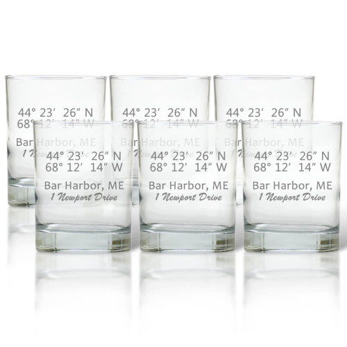 Longitude Latitude Bar Glasses, Set of 6
