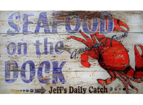 Vintage Style Wood Plank Nautical Sign