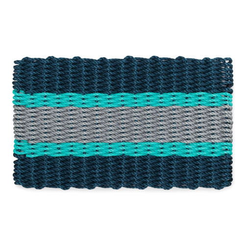 Wicked Good Nautical Rope Doormat, Navy, Teal, Silver