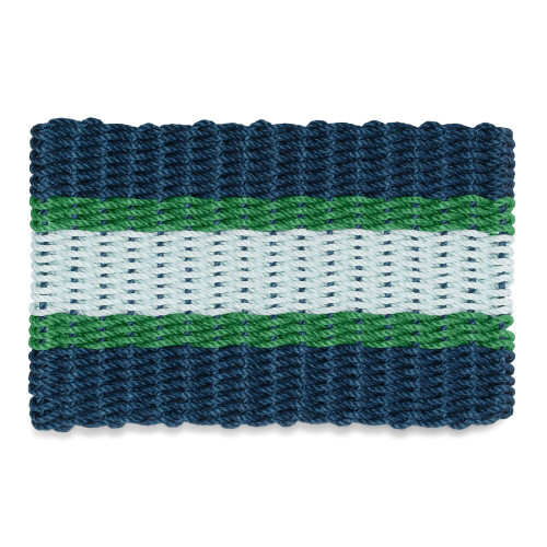Wicked Good Nautical Rope Doormat, Navy, Green, Seafoam