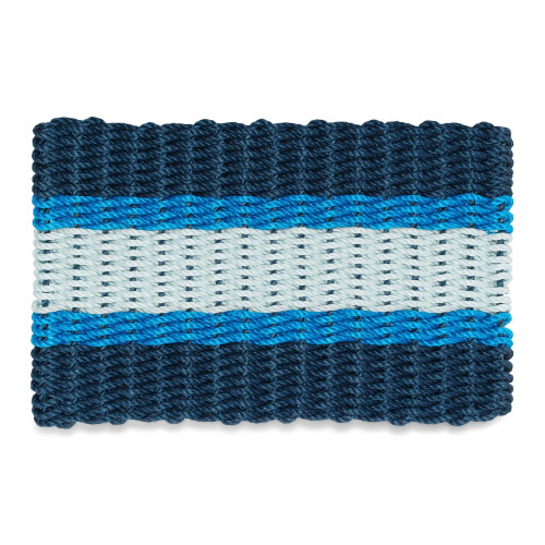 Wicked Good Nautical Rope Doormat, Navy, Light Blue, and Seafoam