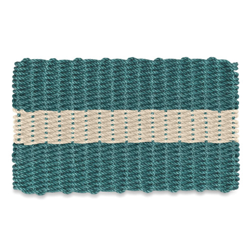 Wicked Good Nautical Rope Doormat, Dark Green with Light Tan
