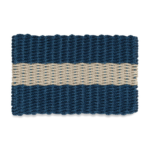 Wicked Good Nautical Rope Doormat, Navy with Dark Tan Stripe