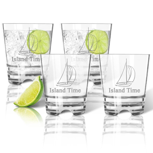 Sailboat, unbreakable acrylic drinking glasses, nautical themes, personalized