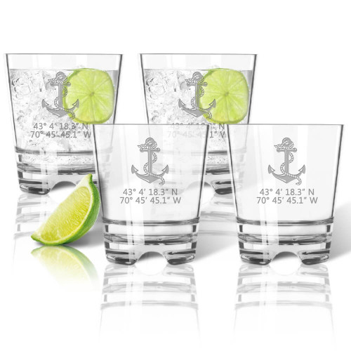 Latitude Longitude Old Fashioned Glasses, Unbreakable Acrylic, Anchor
