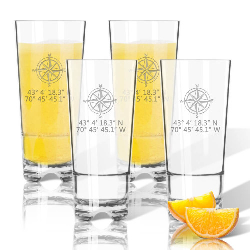 Latitude Longitude Stemless Highball Coolers, Unbreakable Acrylic, Compass Rose