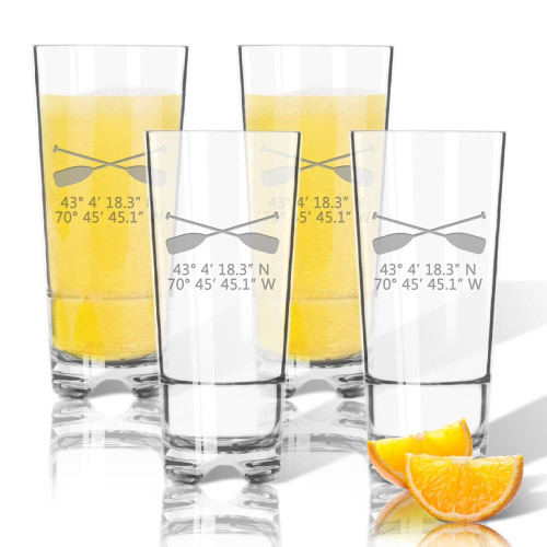 Latitude Longitude Stemless Highball Coolers, Unbreakable Acrylic, Nautical  Oars