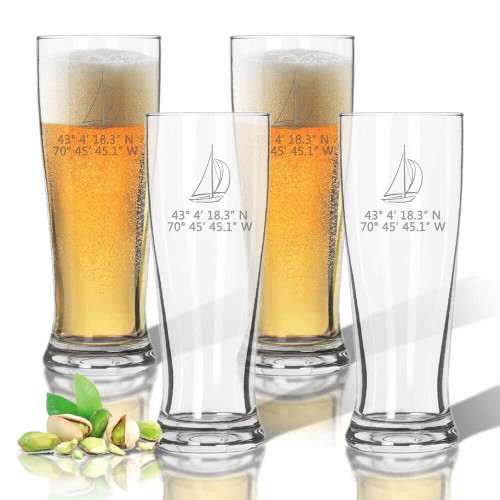 Latitude Longitude Stemless Pilsner Beer Glasses, Unbreakable Acrylic, Sailboat