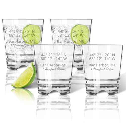 Latitude Longitude GPS  Coordinates Glasses, Double Old Fashioned