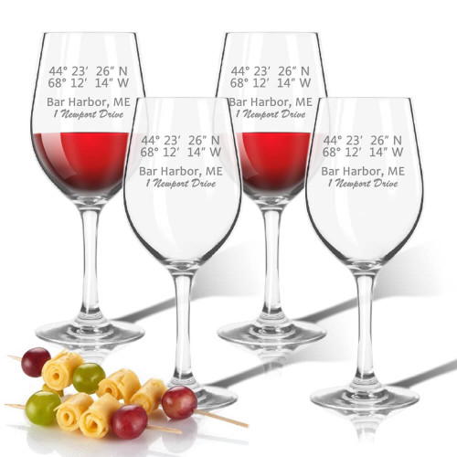 Latitude & Longitude GPS Coordinate + Address, Wine Glasses, Unbreakable Acrylic