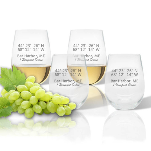 Latitude & Longitude GPS Coordinate + Address, Stemless Wine Glasses, Unbreakable Acrylic