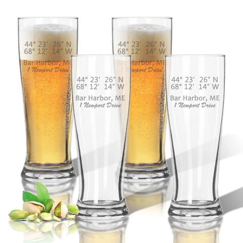 Latitude & Longitude GPS Coordinates + Address, Pilsner Glasses, Unbreakable Acrylic