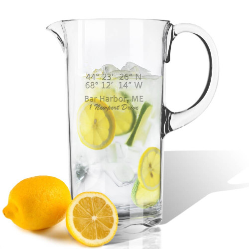 GPS Coordinates Acrylic Outdoor-Friendly Pitcher