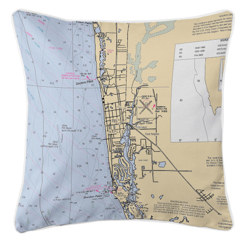 Naples, FL Nautical Chart Pillow