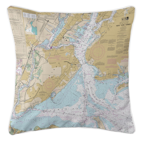 New York Harbor Nautical Chart Pillow