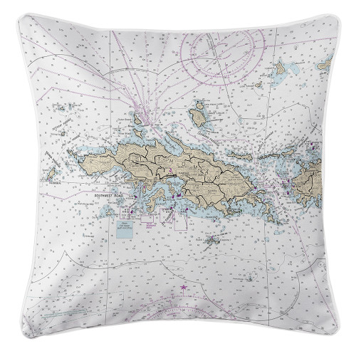 Nautical Chart Pillow, Virgin Islands