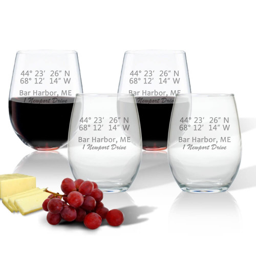 Latitude & Longitude GPS Coordinates, Stemless Wine Glasses, Set of 4