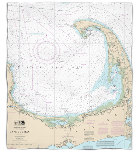 Nautical Chart Fleece Throw Blanket