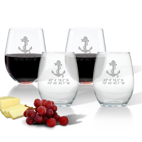 Latitude/Longitude Stemless Wine Glasses, 6 Nautical Design Choices + Coordinates,  Set of 4