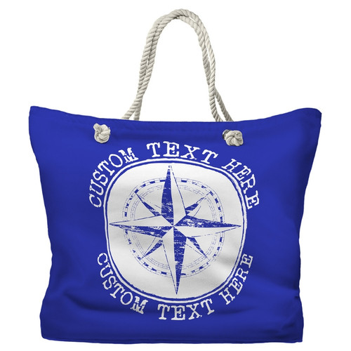 Personalized Boat or Beach Bag, Compass Rose Nautical Tote, 20 Colors