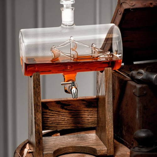 Ship in Glass Barrel Decanter, Whiskey and Wine Dispenser