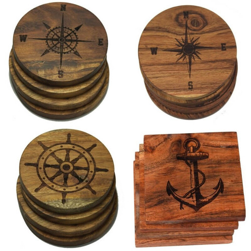 Nautical Coasters, Anchor, Compass Rose, Captain's Wheel, Solid Acacia Wood