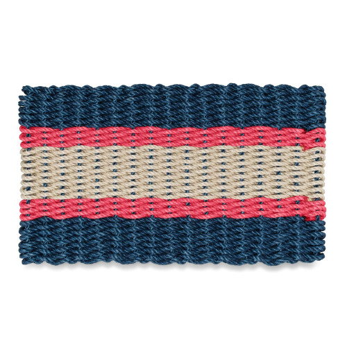Wicked Good Lobster Fishing Rope Doormat, Navy, Red, Light Tan