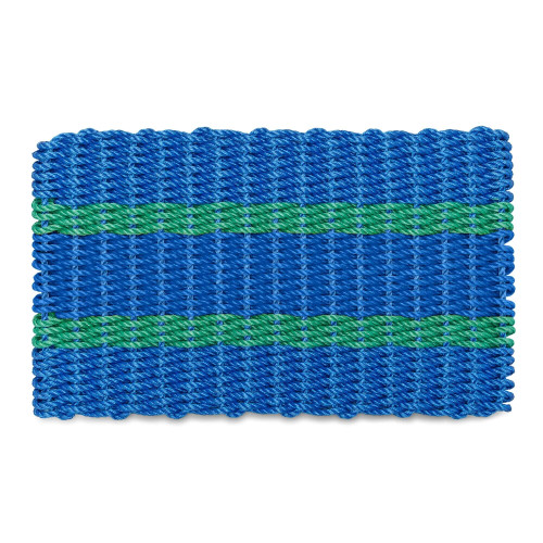 Wicked Good Lobster Rope Doormat, Blue with 2 Green Stripes