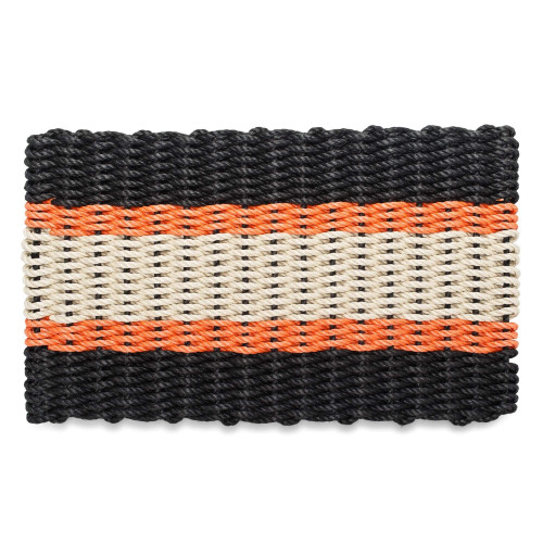 Nautical Rope Doormat, Black, Orange, Light Tan