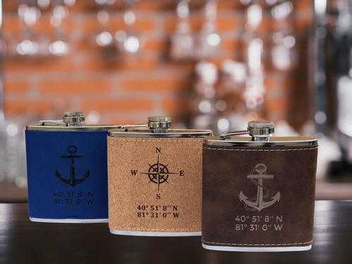 Custom Engraved Nautical Flask, Anchor, Compass Rose, Latitude & Longitude