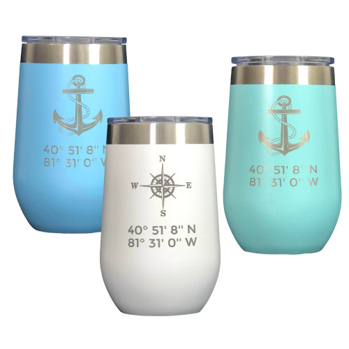 Latitude Longitude Polar Wine Tumblers, 16 oz