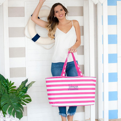 Nautical Striped Ultimate Beach Tote, Personalized, 4 Colors