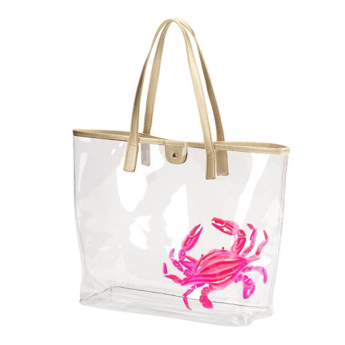 Clear Nautical Beach Bags, Totes, Pink Crab
