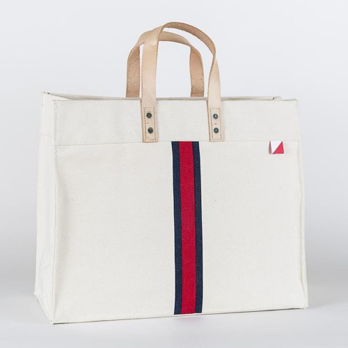 Nautical Stripes Box Tote, Heavyweight Cotton Canvas, Red and Navy Stripe