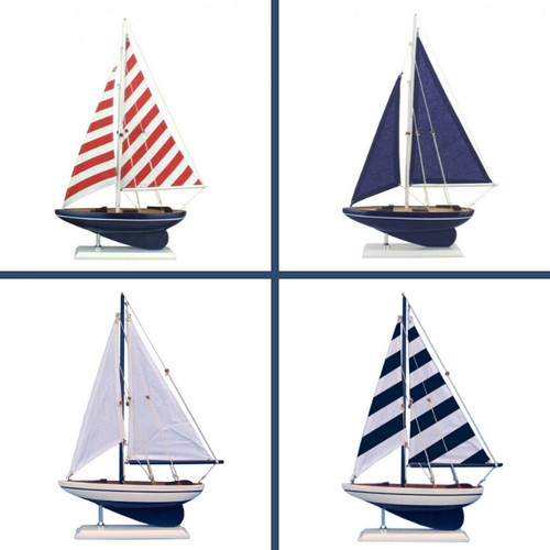 Wooden Sailboat Nautical Decor Accent Pieces