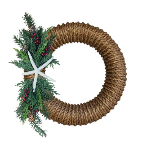 Nautical Rope Wreath, Winter Starfish